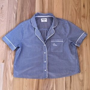 Gilly Hicks size small blue striped sleep crop top
